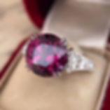 Custom cut Mahenge Garnet in an amazing engagement ring