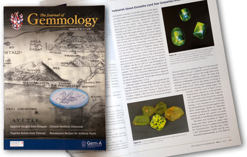 Photos of the article co-written by Jeff White, discussing the newly-discovered deposit of gem quality enstatite in Tanzania.