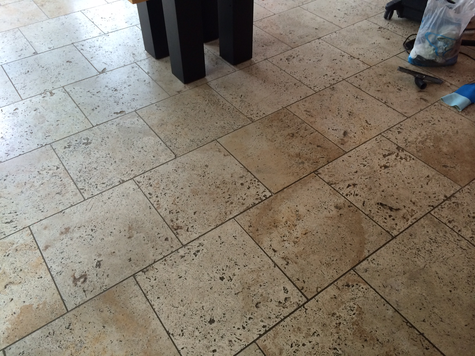 Unfilled Travertine Before Cleaning
