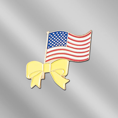 Die Struck USA Flag Pin with Yellow Ribbon