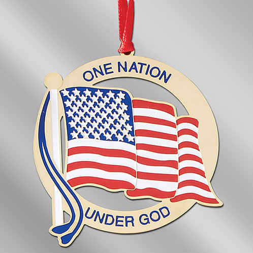 One Nation Under God -Metal Flag Ornament