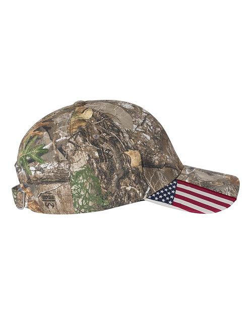 Realtree Edge Cap with USA Flag on Visor
