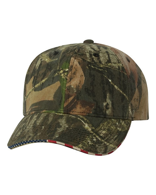 Mossy Oak Break-Up Cap with USA Flag Sandwich Visor