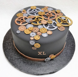 Clockwork gears birthday cake