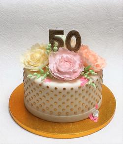 Peonies birthday cake