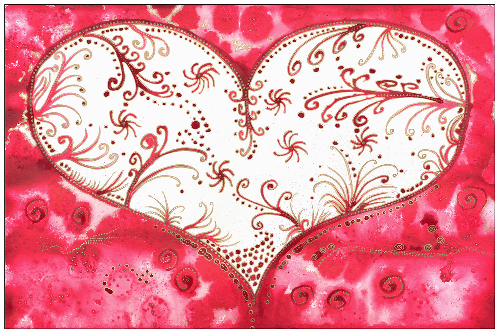 love painting heart floral white red abstract Amyhooton