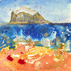 Bass Rock 1 mini painting Amy Hooton