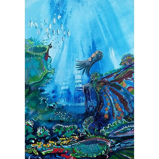 Underwater cliffs #acrylicink #underwater