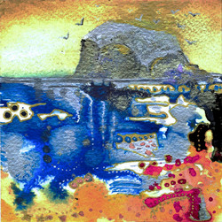 Bass Rock 2 mini painting Amy Hooton