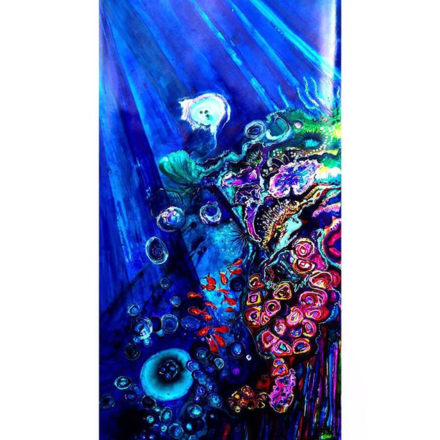 Jellyfish cloud coral painting 68 x 132cm