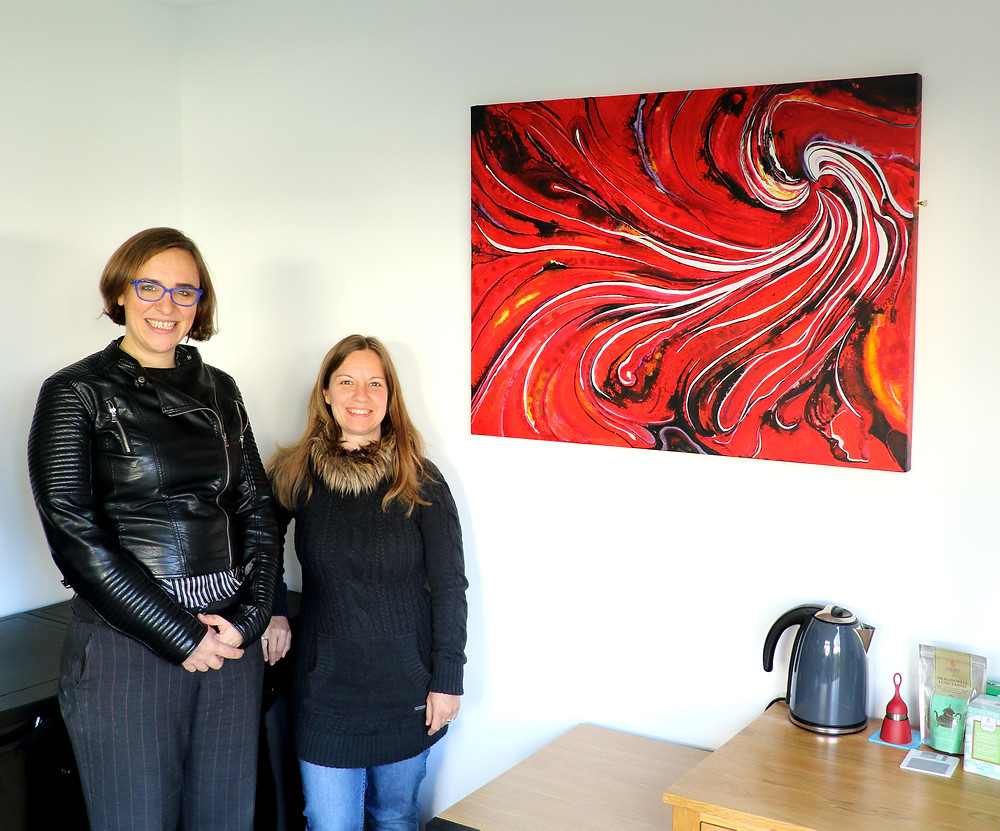LimeBlueVA Office art Abstract red Swirl commissions Amyhooton