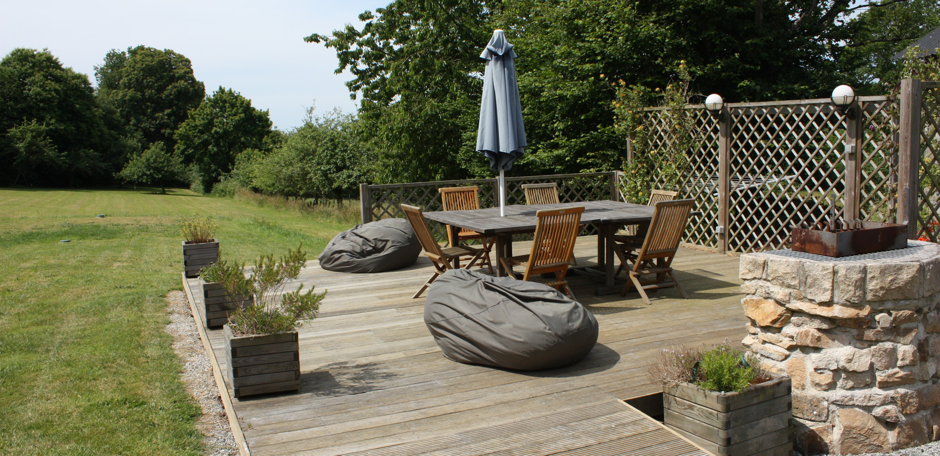 The decking area in the garden