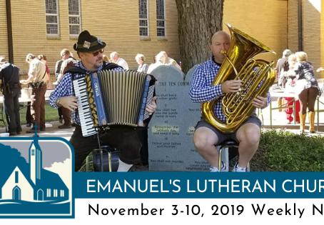 November 3-10, 2019 Weekly News