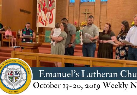 October 13-20, 2019 Weekly News