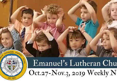 Oct. 27 - Nov. 3, 2019 Weekly News