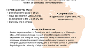 Seeking young adults who have migrated to the U.S. from Latin America about their experiences!