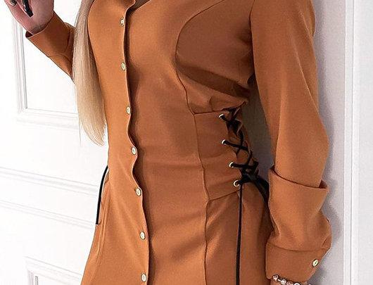 Vestido de camisa com design de amarrar ilhós