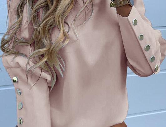 Blusa Casual Detalhe Metal Sólido
