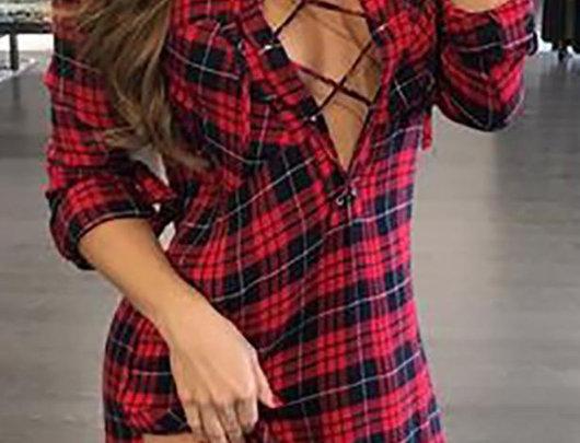 Vestido camisa manta de xadrez