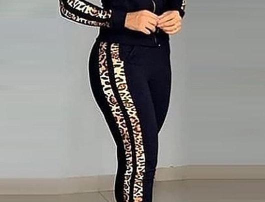 Conjunto de calças e top com zíper com estampa de chitaen