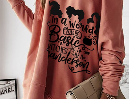 Camisola casual de manga comprida com estampa de cartas de Halloween