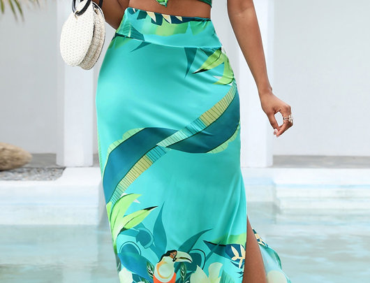Tropical Print Tie Front Top & Slit Maxi Skirt Set