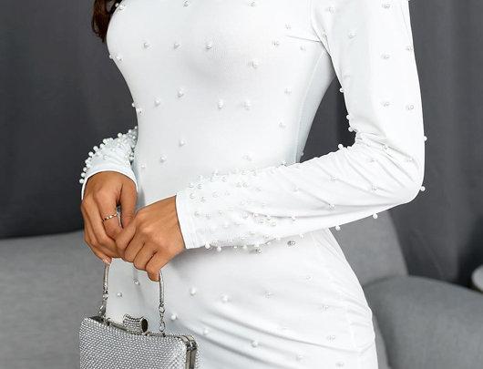 Vestido manga comprida com perolas