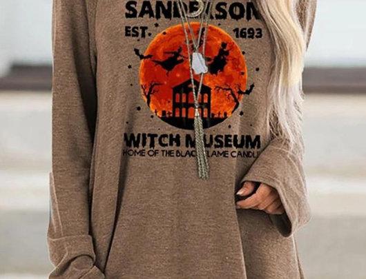 Camiseta de manga comprida com estampa de bruxa para Halloween