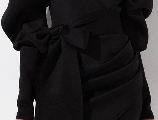 Bispo manga envoltório mini vestido