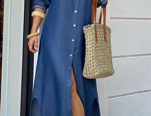 vestido camisa de fenda Jeans