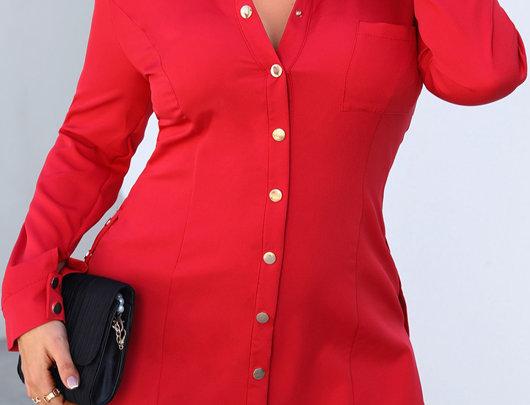 Vestido camisa com design de botão liso tamanho plus