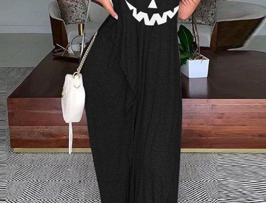 Vestido Maxi com estampa de rosto de abóbora de Halloween com franzido