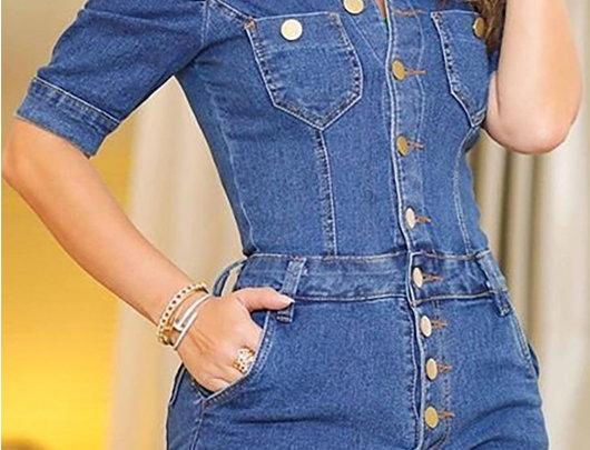 Macacão Jeans co botões