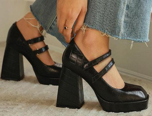 Sapatos Jenny salto quadrado