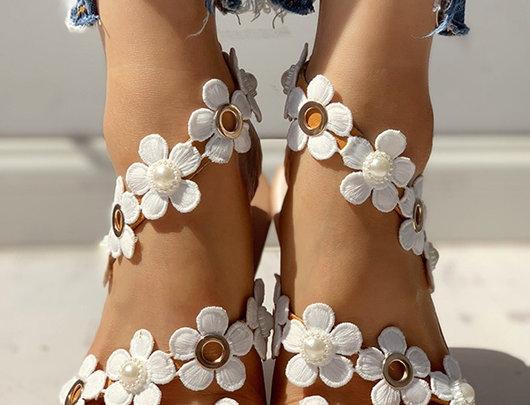 Sandálias casuais pé embelezado floral