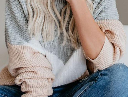 Suéter Ins Colorblock Gola Redonda