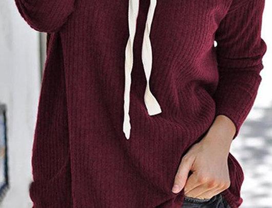 Hoodie de malha de manga comprida sólida