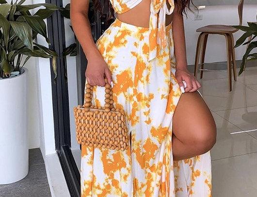Bandeau Tie Dye Print Top & Slit Skirt Set