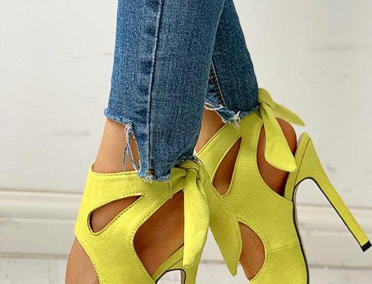 Sandálias Toe Cutout atado