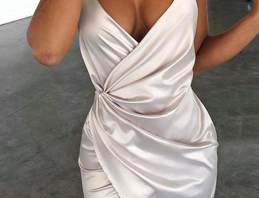 Vestido de Festa Cetim Espaguete