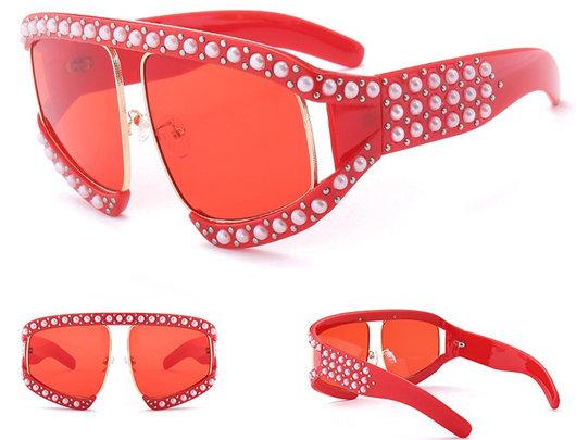 Óculos de sol grandes frisados