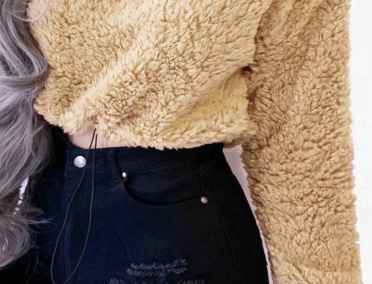 Sólido manga comprida Crop Teddy Fofo