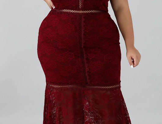 Vestido Plus Size Crisscross Backless Crochet Renda