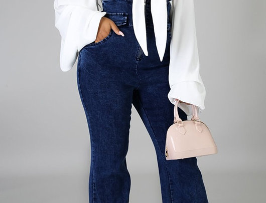 Macacão Jeans com zipper
