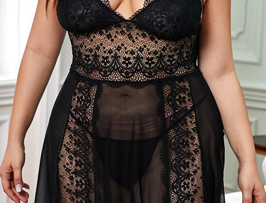Babydoll Plus Size Guipure Lace Sheer Mesh.