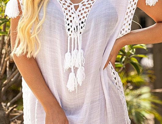 Vestido de praia encobrir Crochet