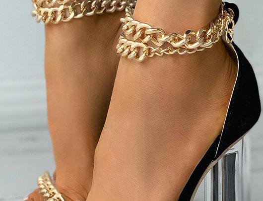 Sandálias decoração de corrente Salto Chunky