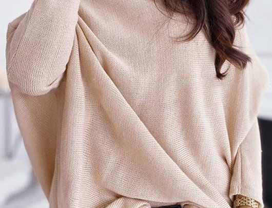 Camisola básica de tricô de manga comprida