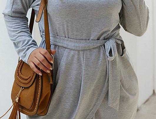 Vestido envoltório liso de manga comprida tamanho plus