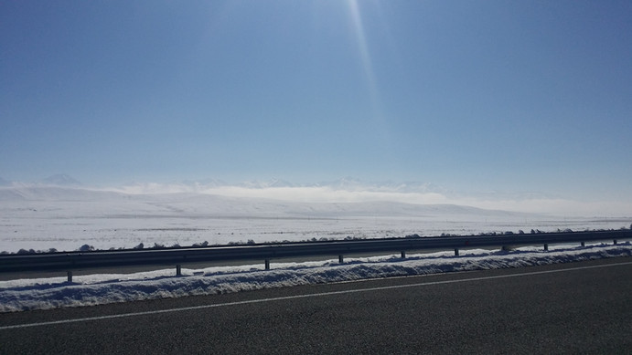 Snowy surrounds in Kazakhstan